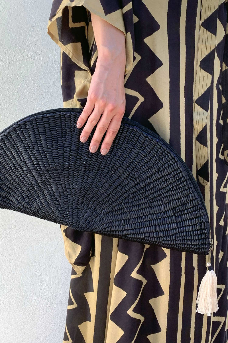 Black Raffia Summer Clutch Bag