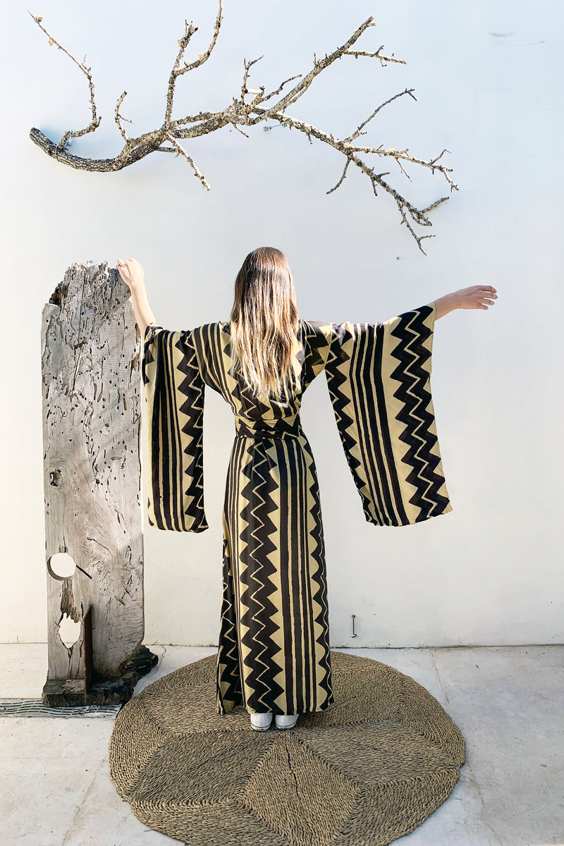Long Tribal Kimono Dress with Black and Gold Block Print