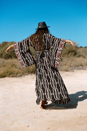 Tribal Kimono Dress in Black and Red