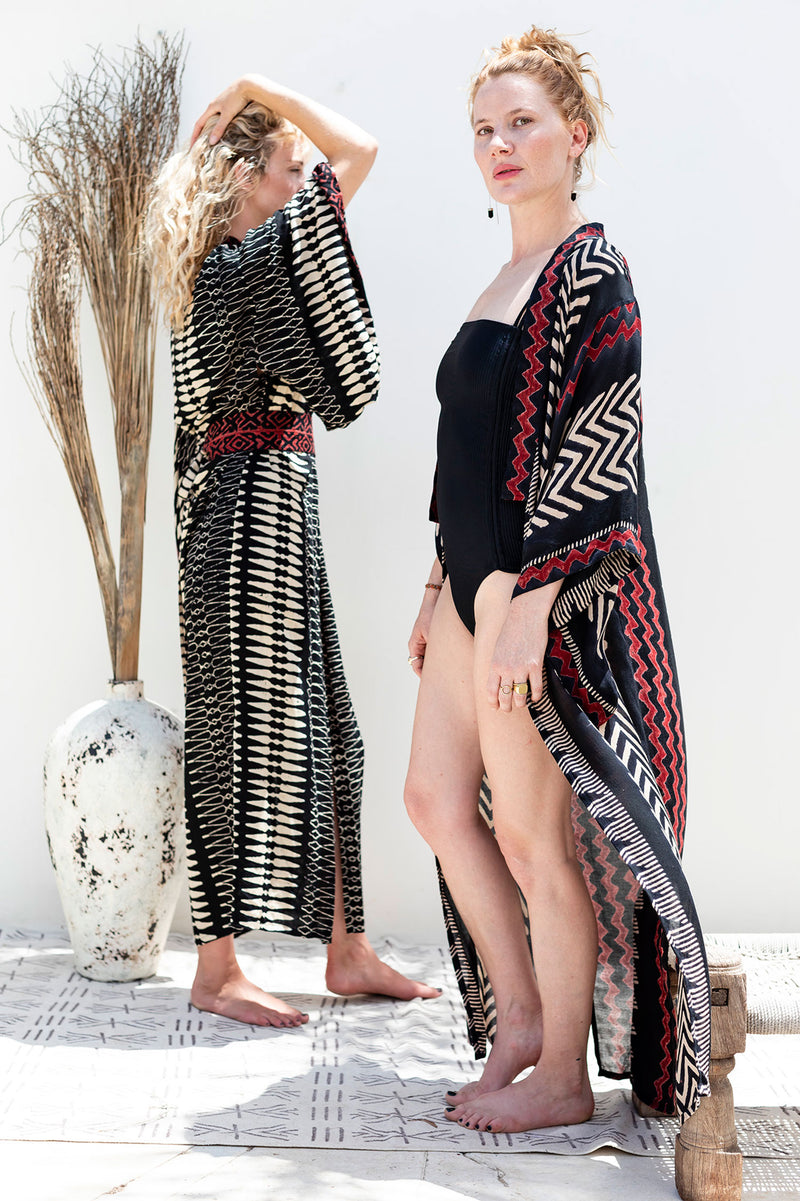 kimono ra long red zigzag tribal block print