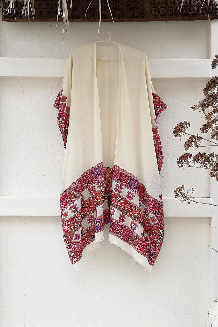 Colorful Kulu Poncho with Star Pattern