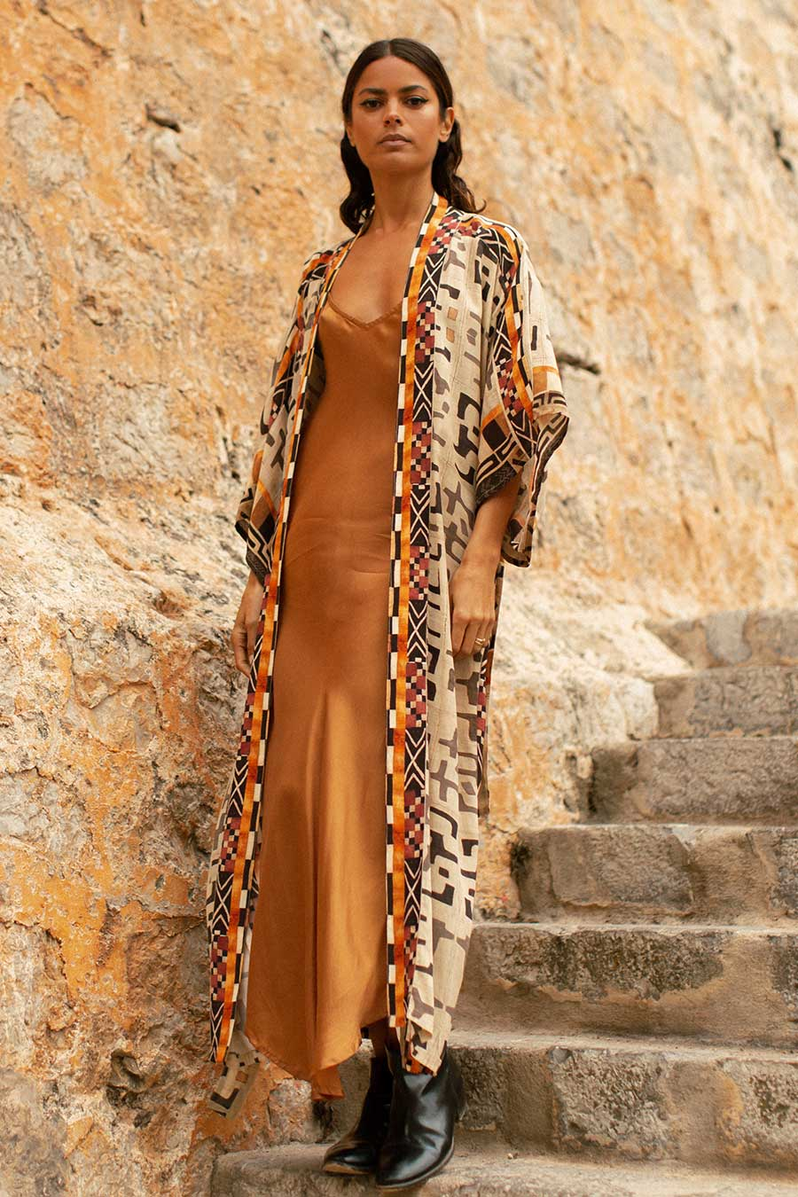 Silk Kimono with Brown Tribal Print