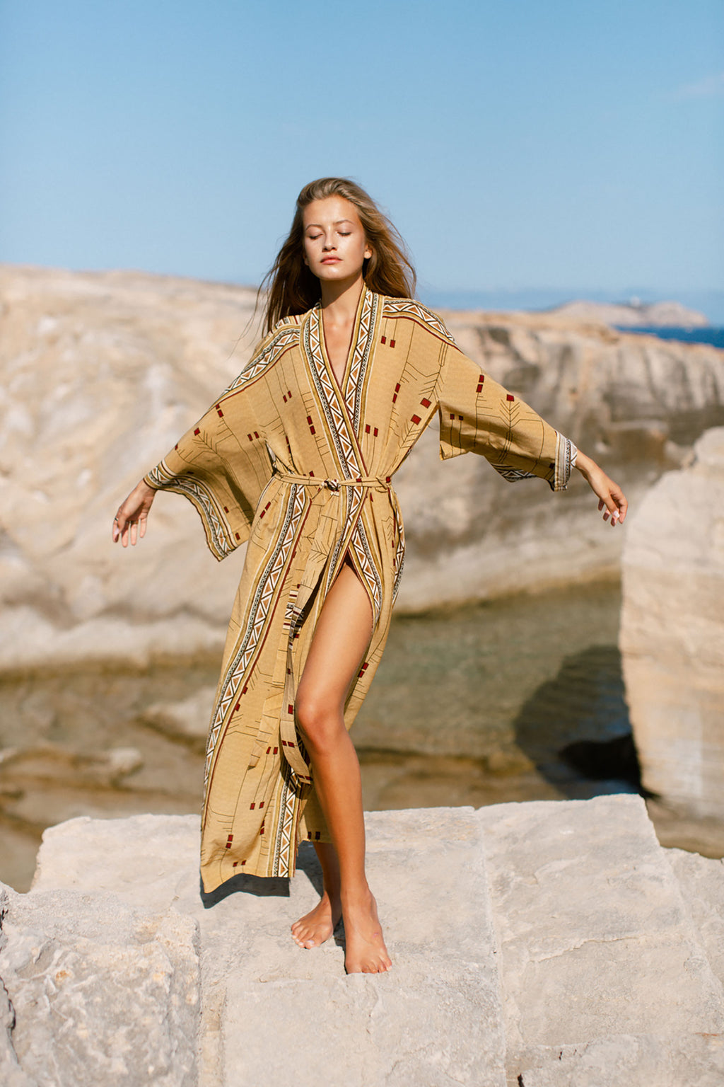 Silk Gold Kimono with Tribal Digital Print