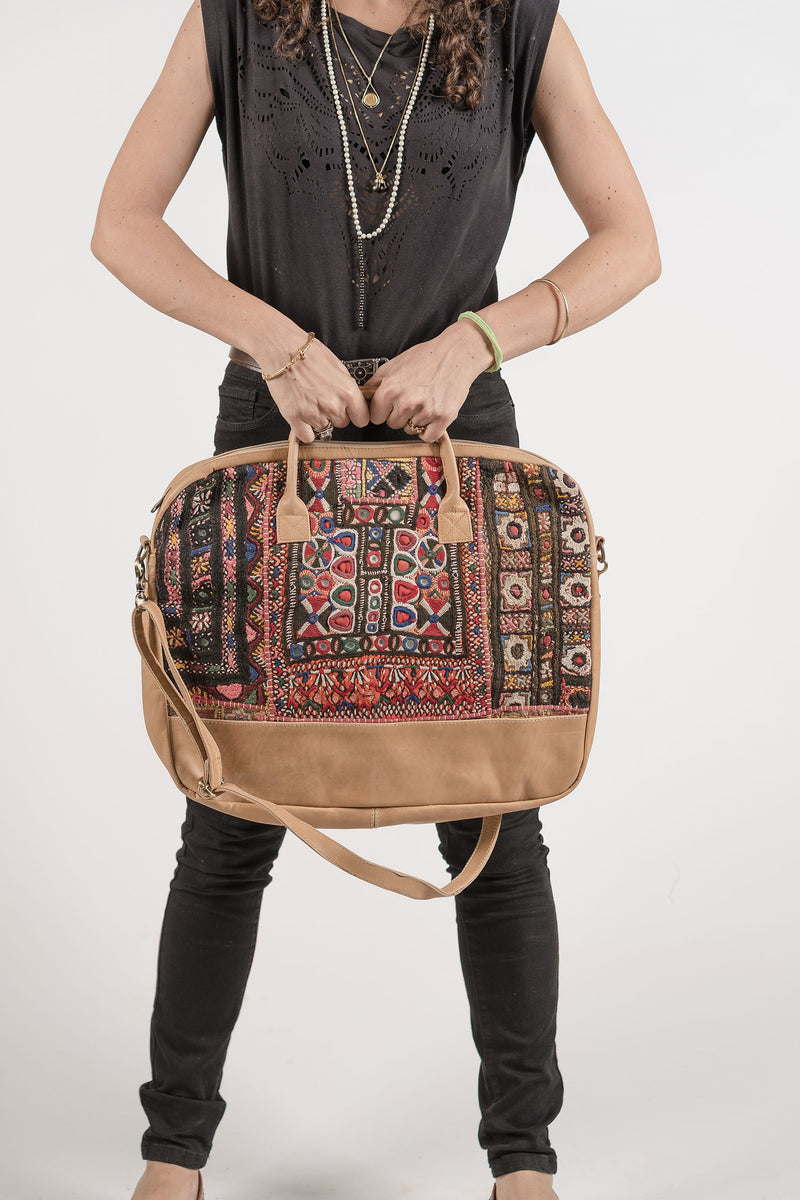 Laptop Bag with Antique Embroidered Fabric