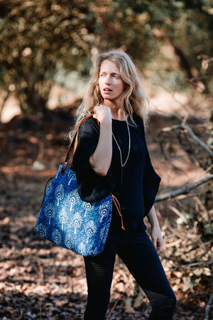 Leather Vintage Fabric Tote Bag in Indigo