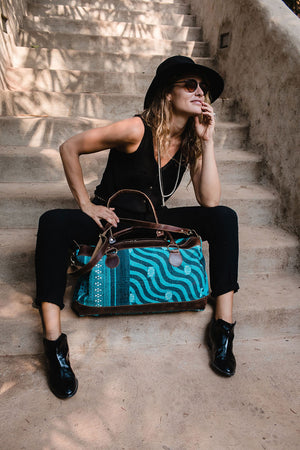Leonard Weekender Traveller Bag Turquoise Black