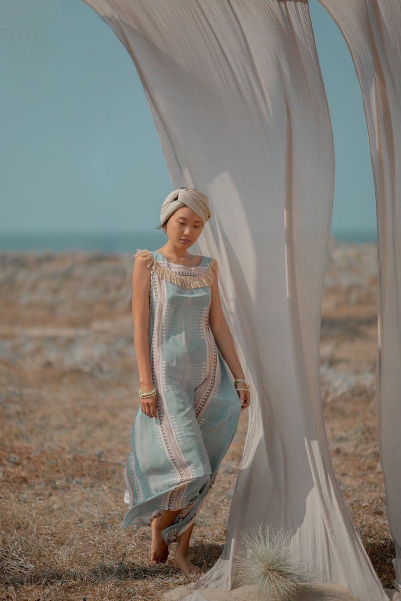 Light Turquoise Long Silk Dress with Digital Print
