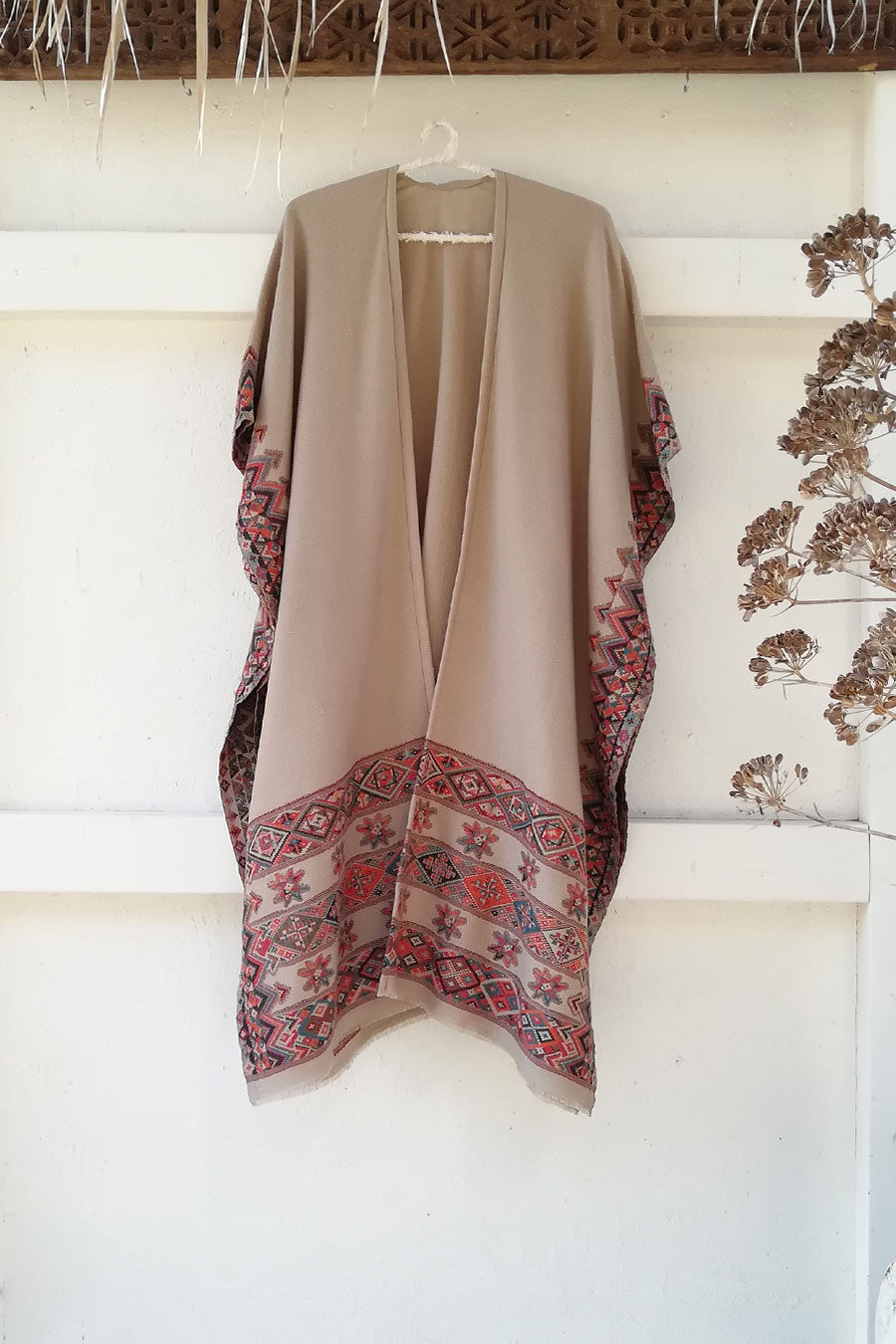 Light Brown and Multicolor Wool Poncho