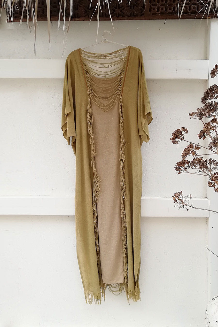Light Green Raw Silk Boho Kaftan Dress