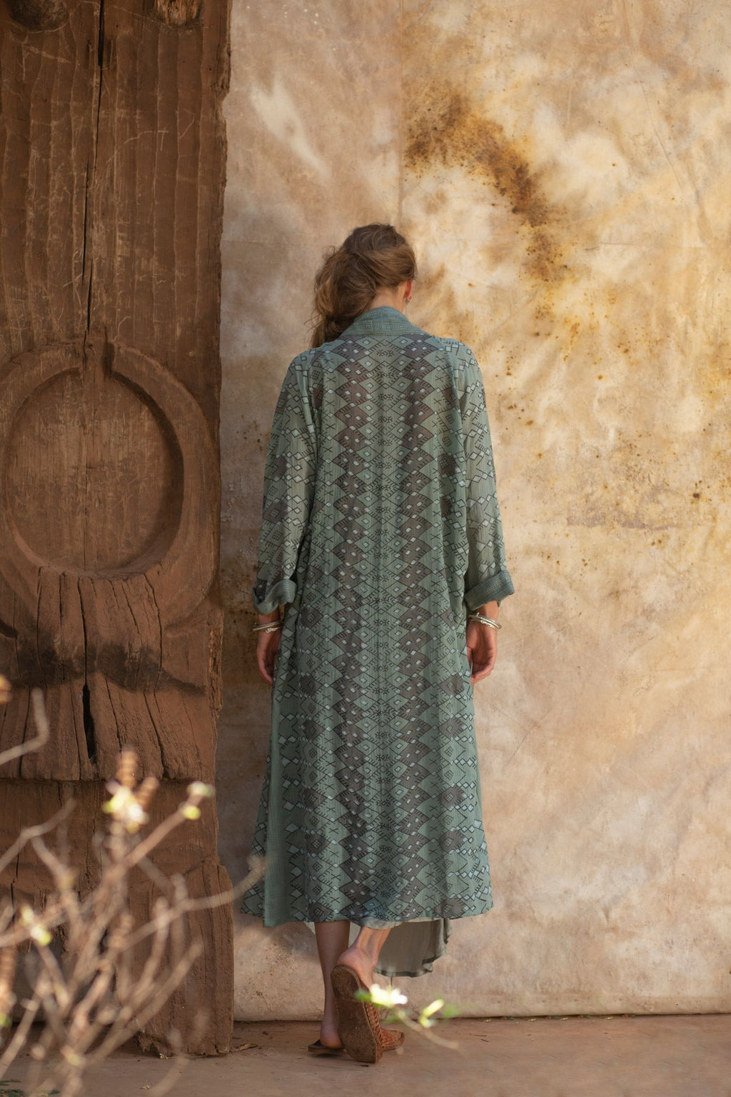 Long Boho Block Print Teal Duster