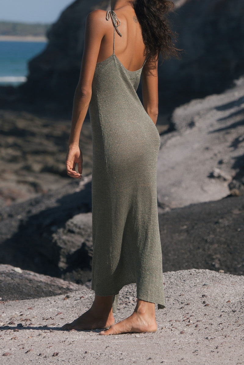 Long Knit Boho Dress in Green and Gold