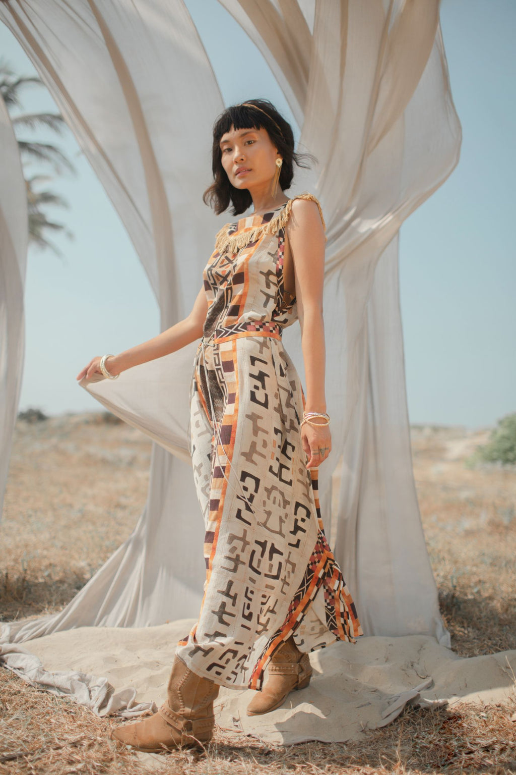 Long Silk Boho Dress with Tribal Print