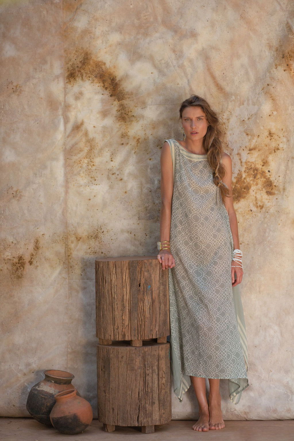Long Summer Dress with Block Print