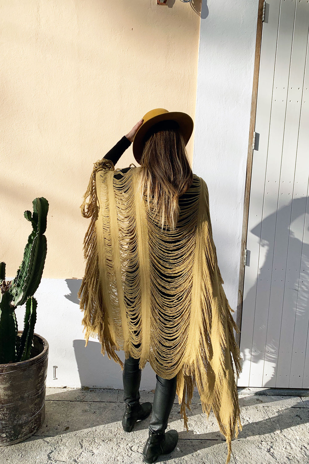 Malik Kaftan Dress Poncho Shredded Raw Silk Tassels in Sage