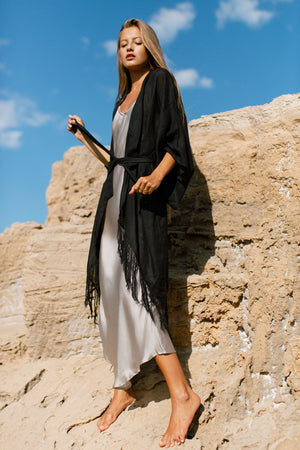 Midi Black Kimono In Raw Silk Luxury Resort Wear