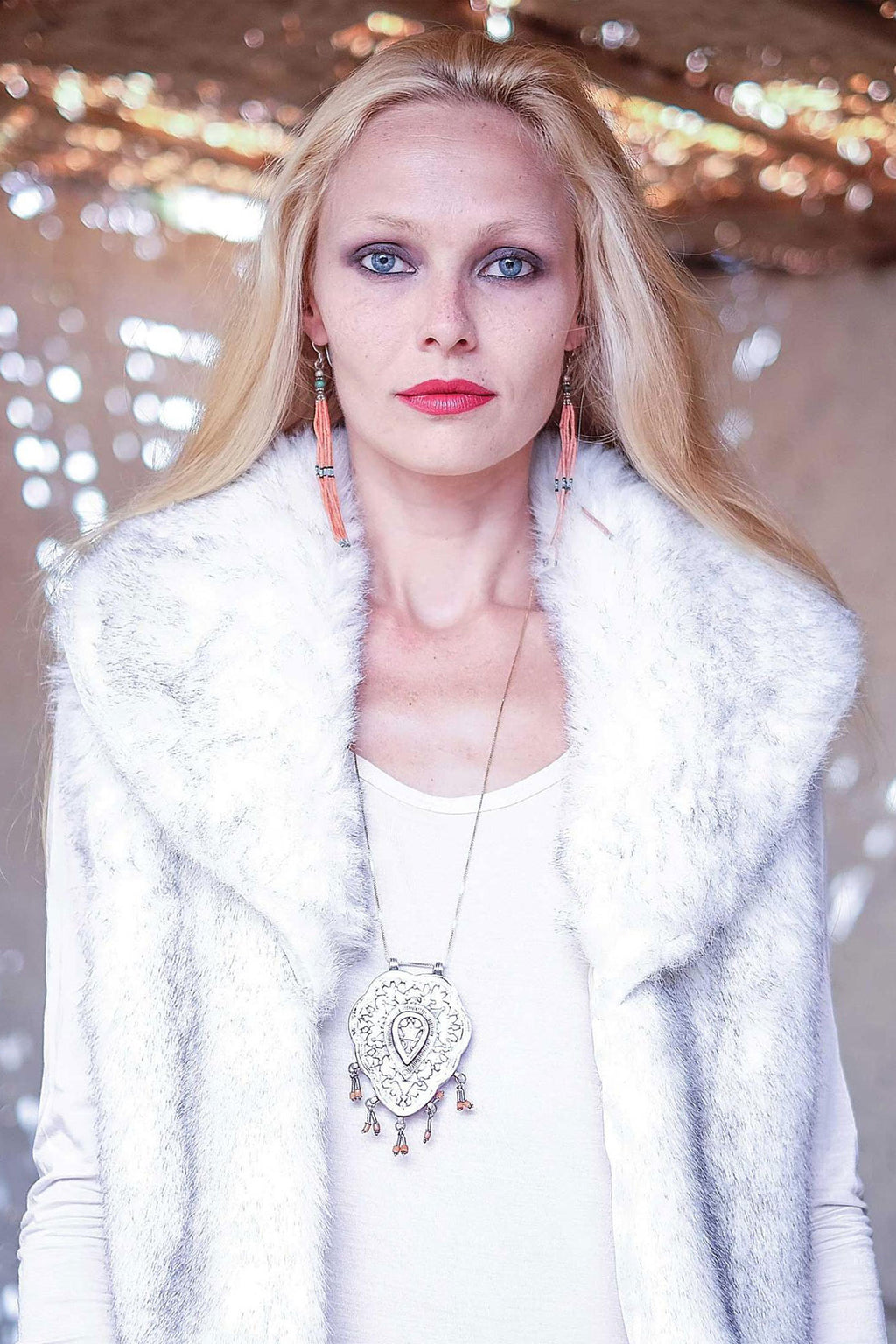 Michell Faux Fur White Boho Vest