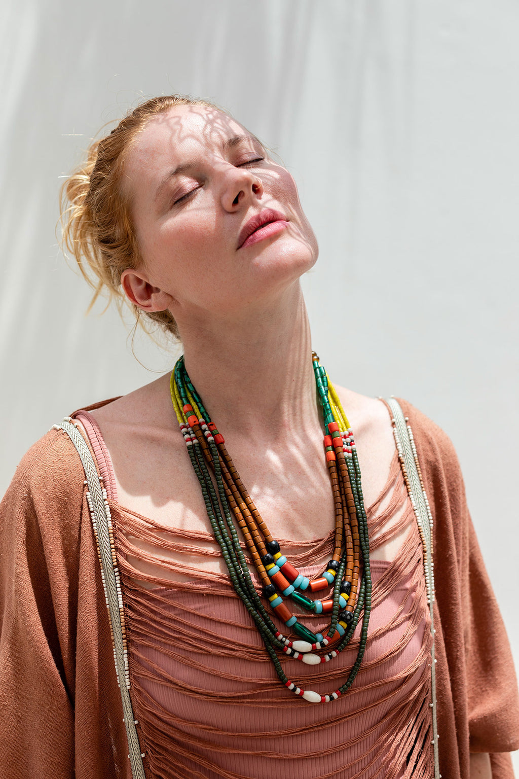Khaki Tribal Necklace with Colorful Glass Beads