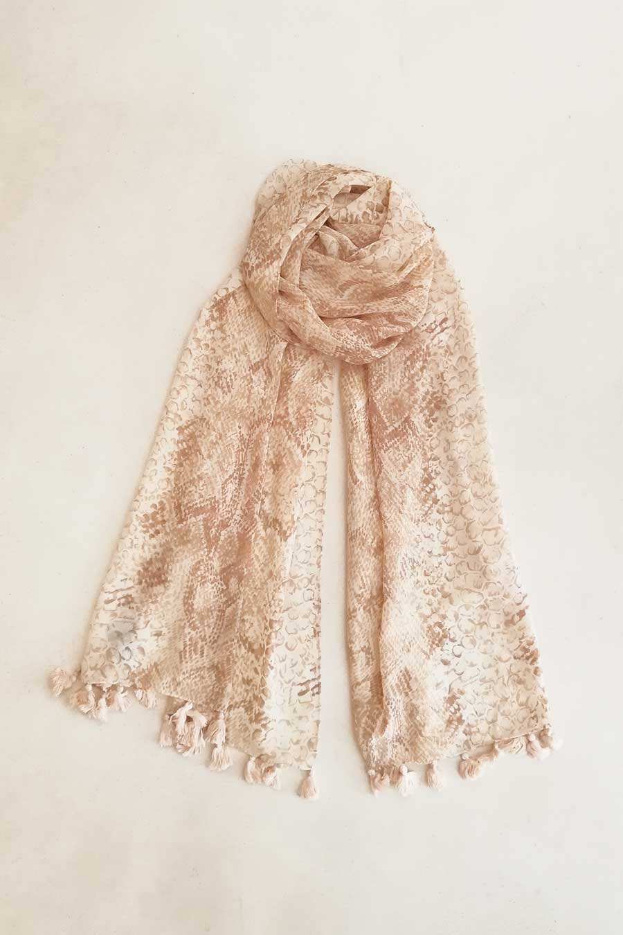 Printed Narrow Shawl with Pompoms