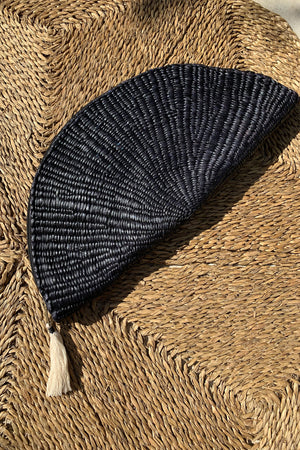 Raffia Summer Boho Clutch in Black