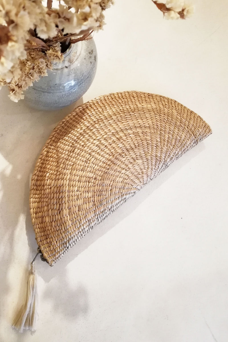 Natural Beige Boho Raffia Straw Clutch