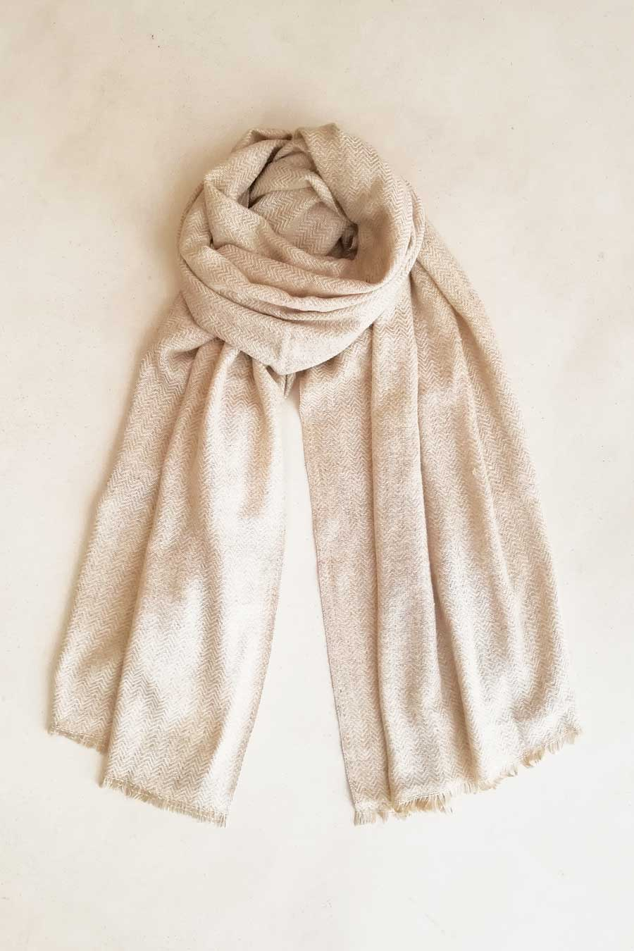 Off-White and Beige Zig Zag Wool Shawl