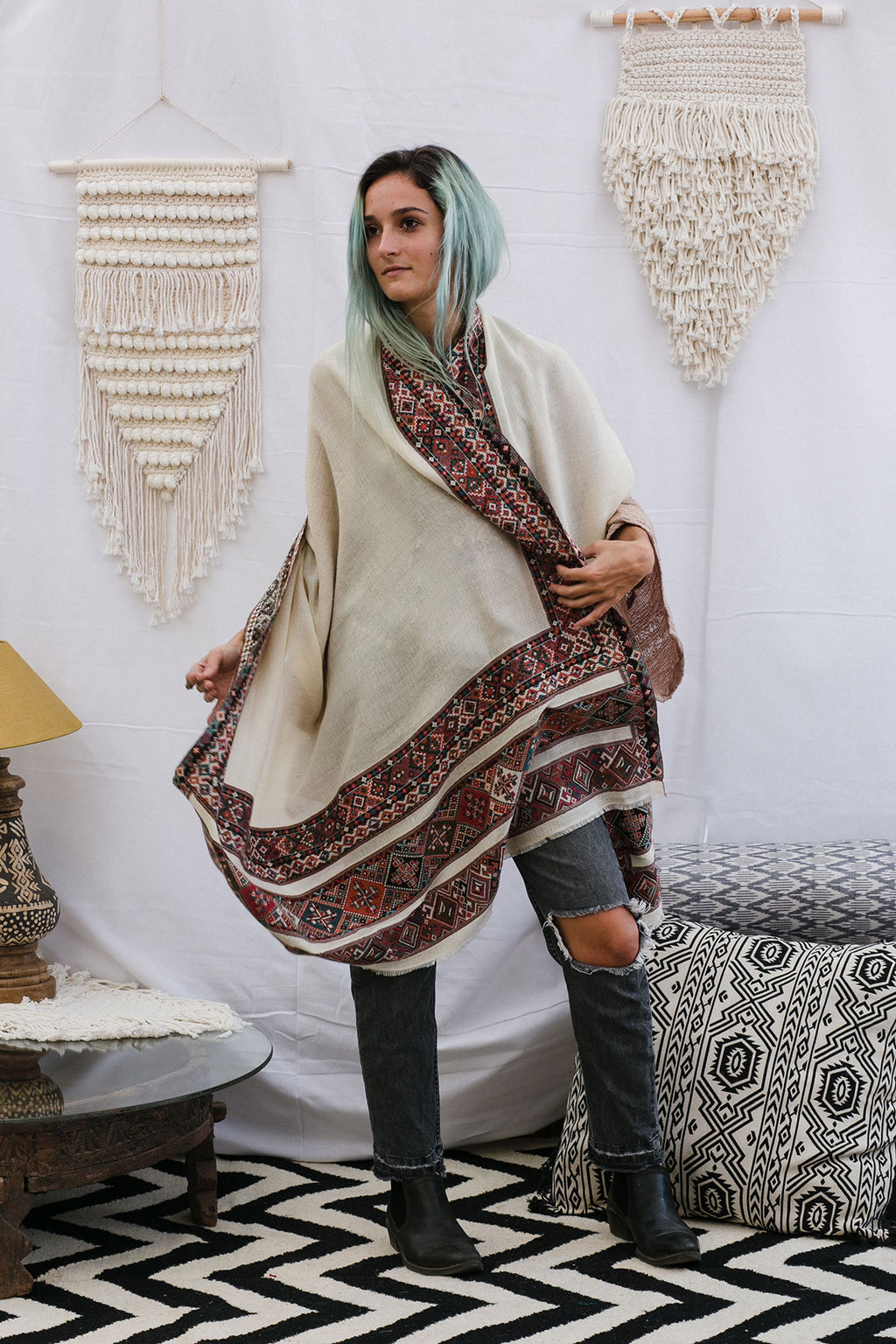 Off-White and Multicolor Large Bohemian Wool Scarf