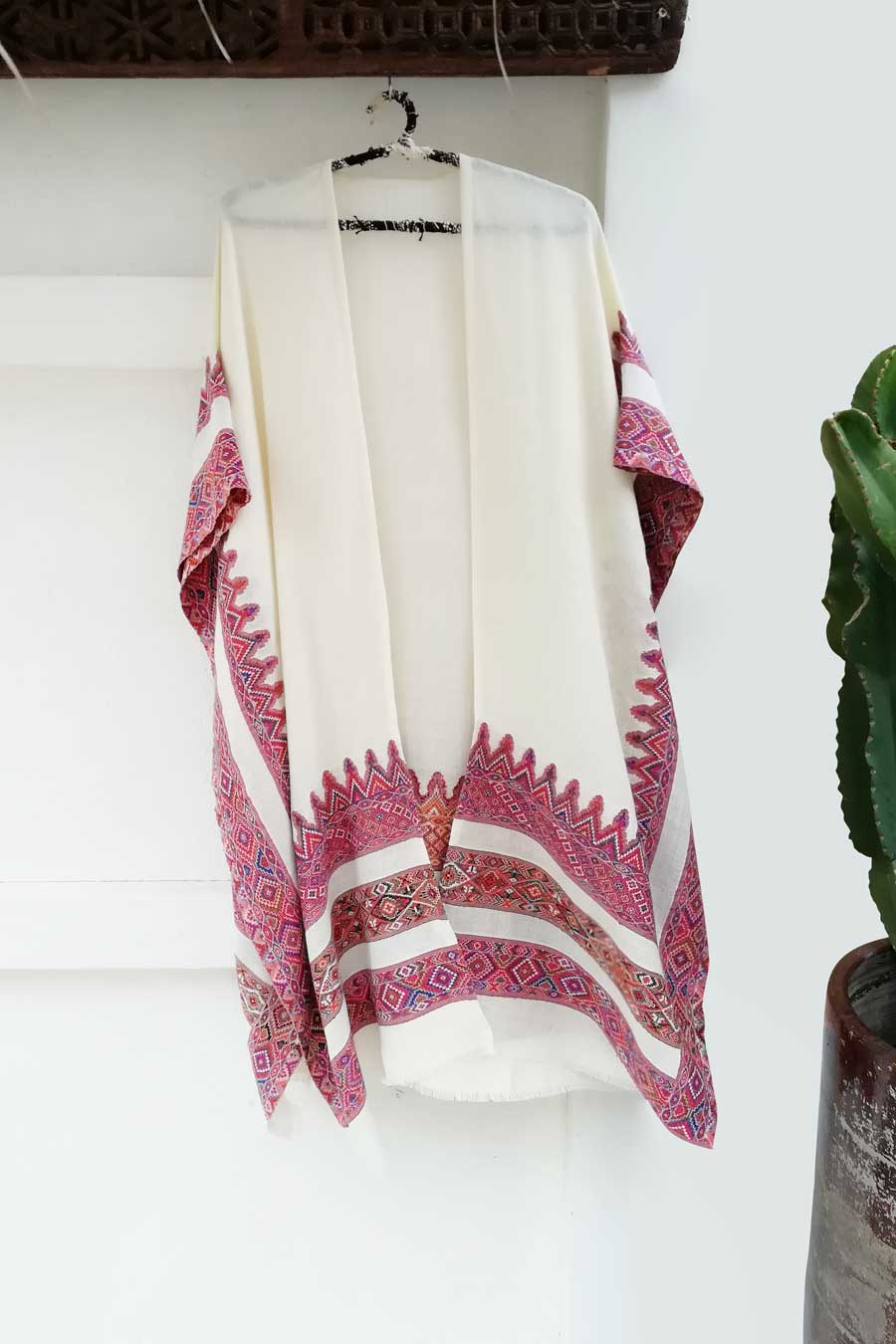 Off-White and Multicolor Embroidery Unisex Poncho