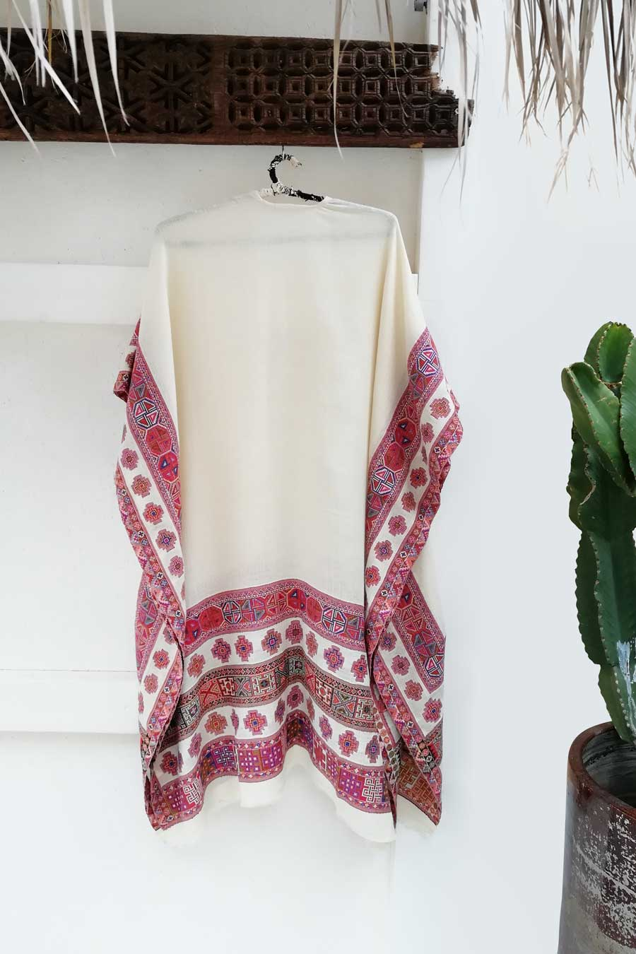Kulu Poncho in Off-White with Multicolor Pattern