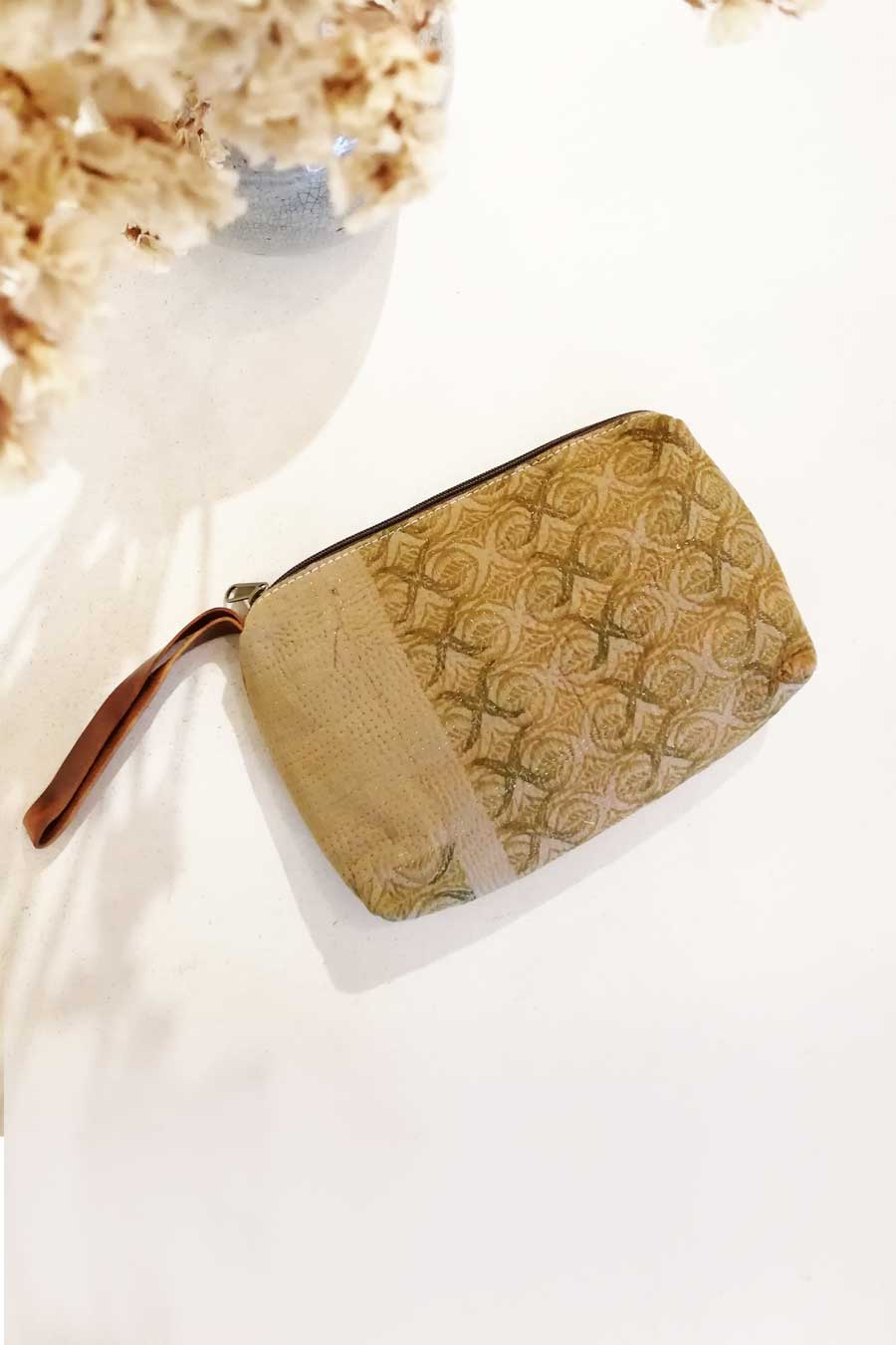 Block Print Olive Clutch Bag with Zipper