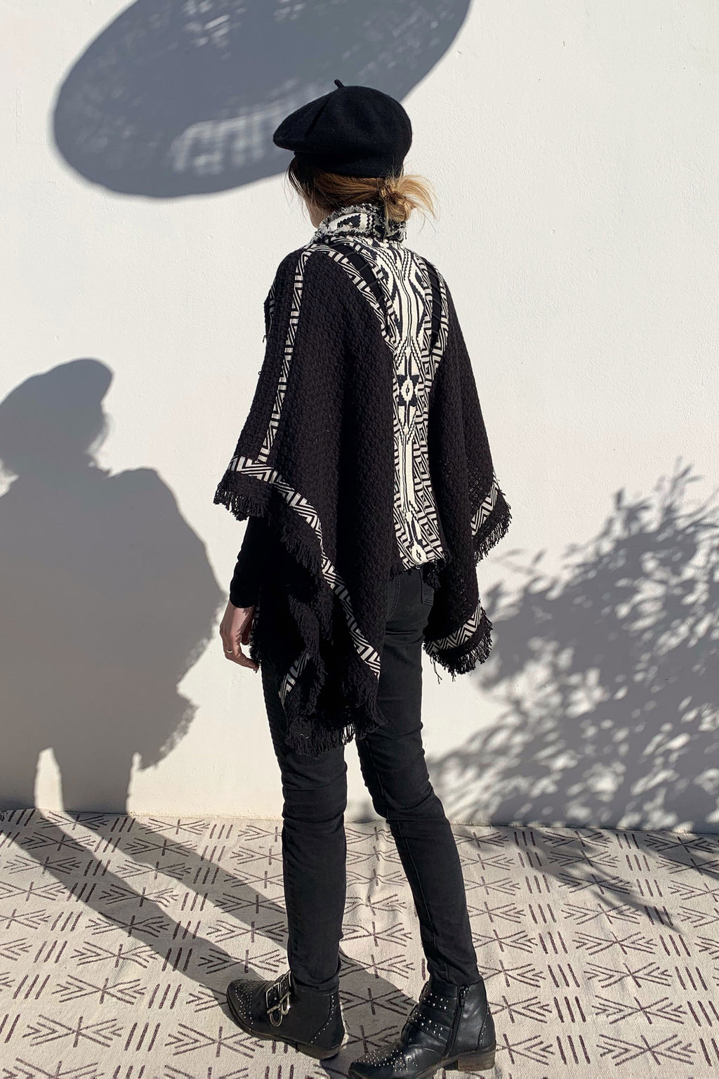 Tribal Black and White Poncho Coat