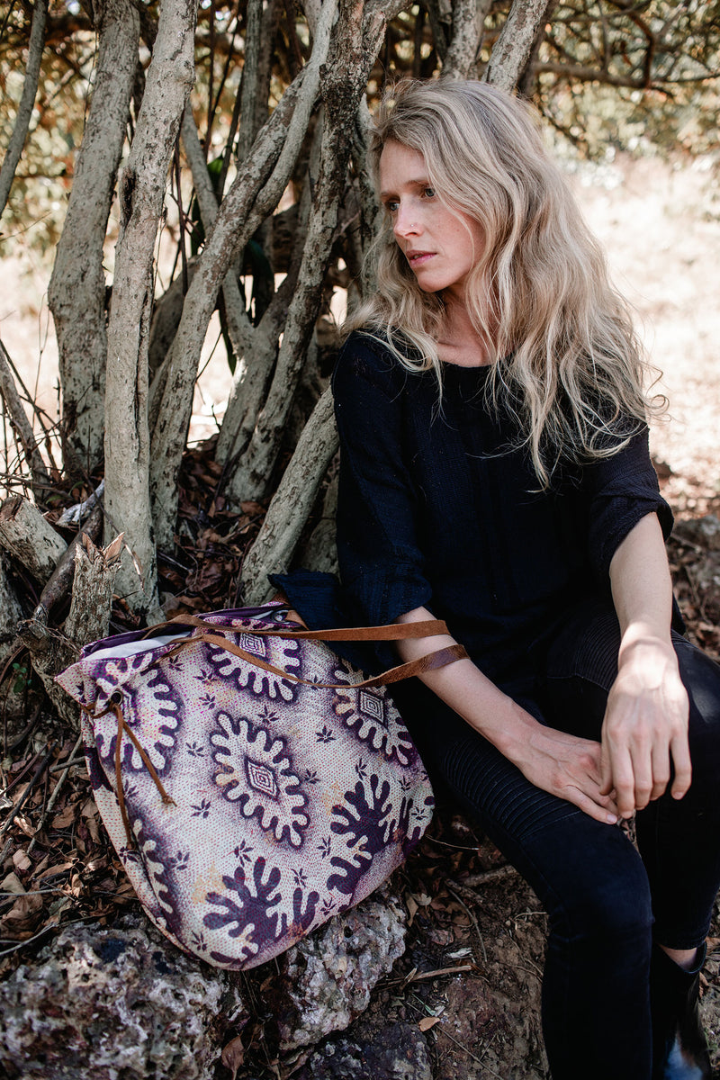 Purple Vintage Fabric and Leather Tote Bag
