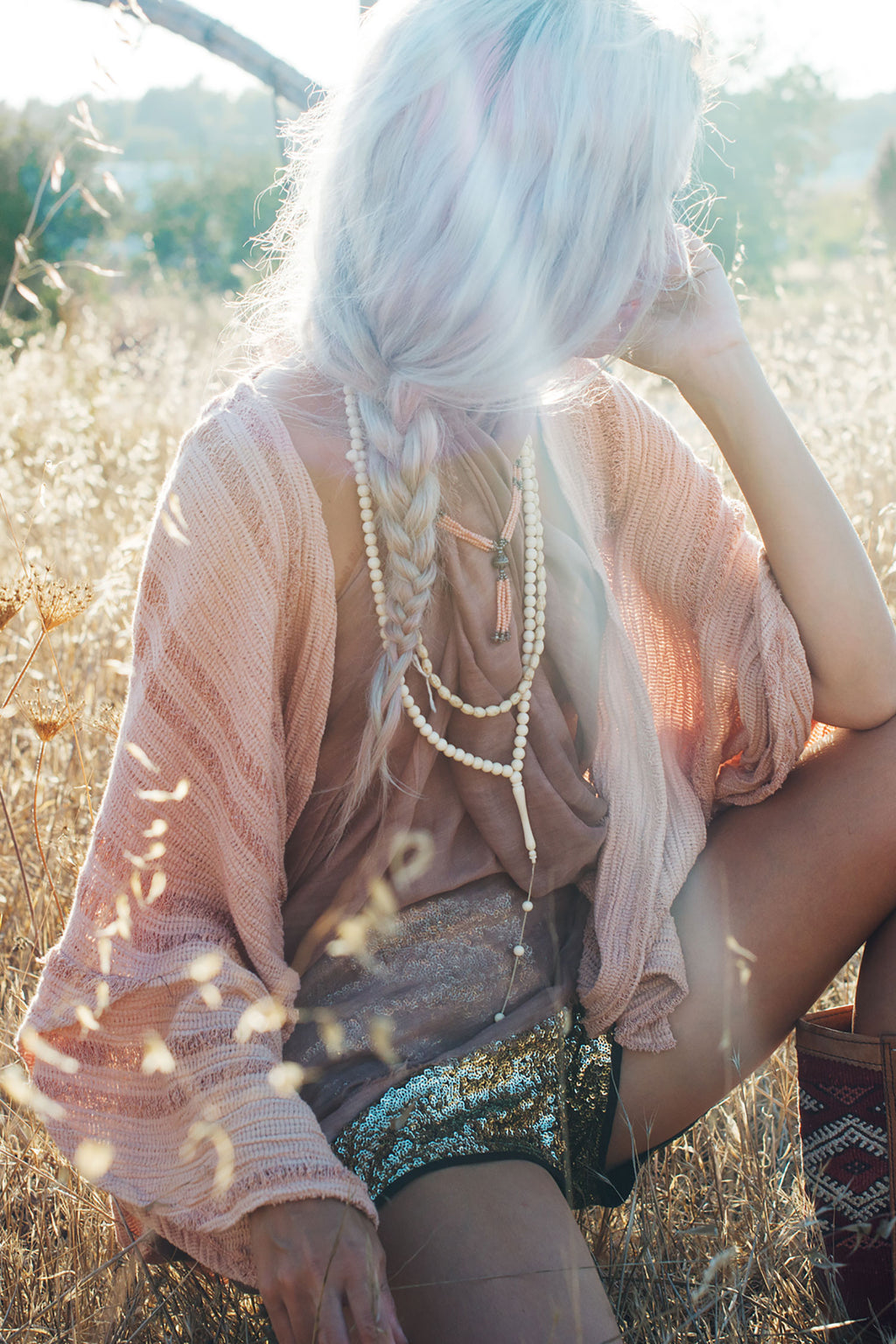 Raw Silk Shredded Kimono in Dusty Pink