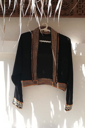 Raw Silk Long Sleeve Jacket with Beads Trim