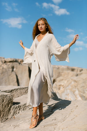 Midi Natural Kimono In Raw Silk Luxury Resort Wear