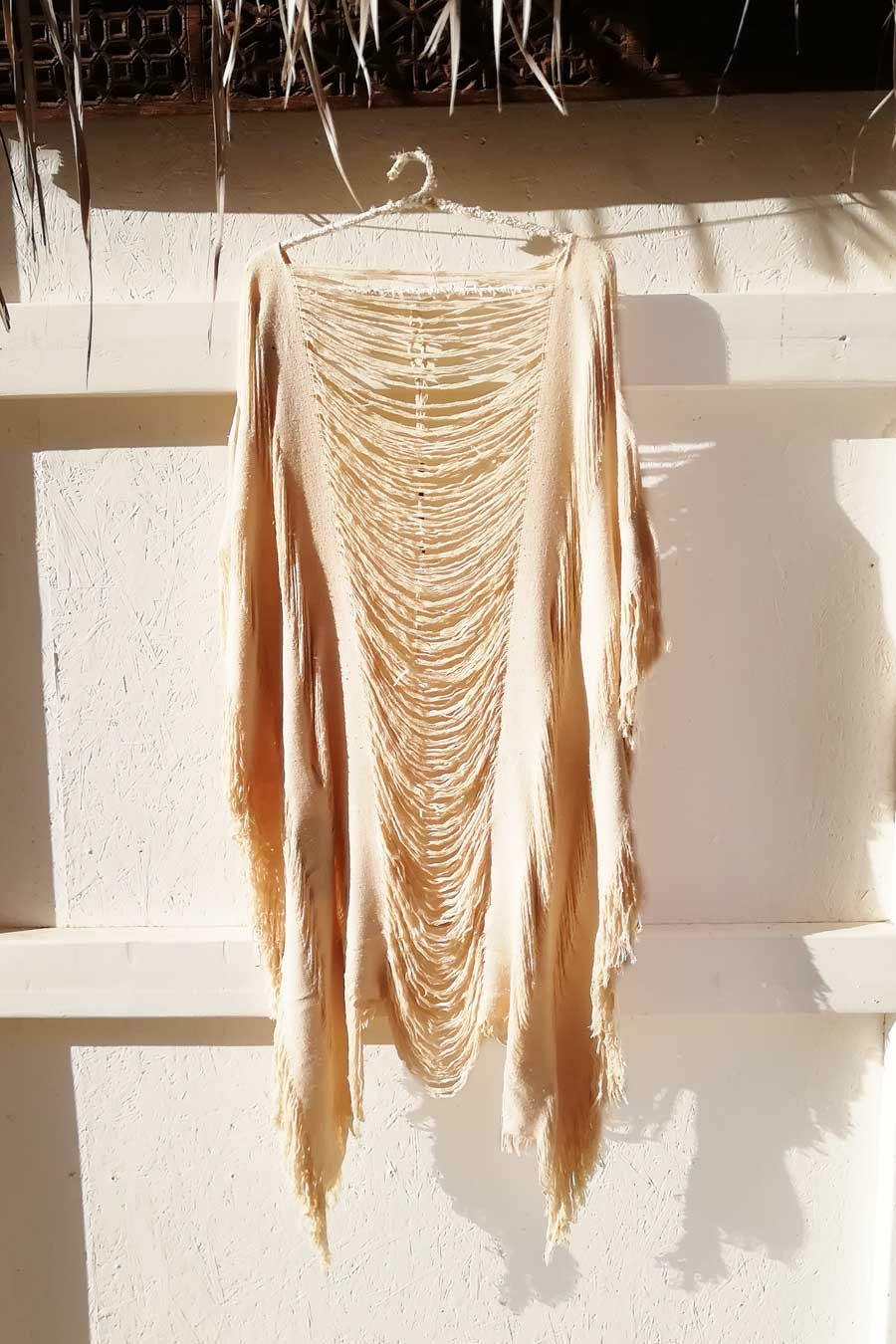Natural Raw Silk Shredded Poncho