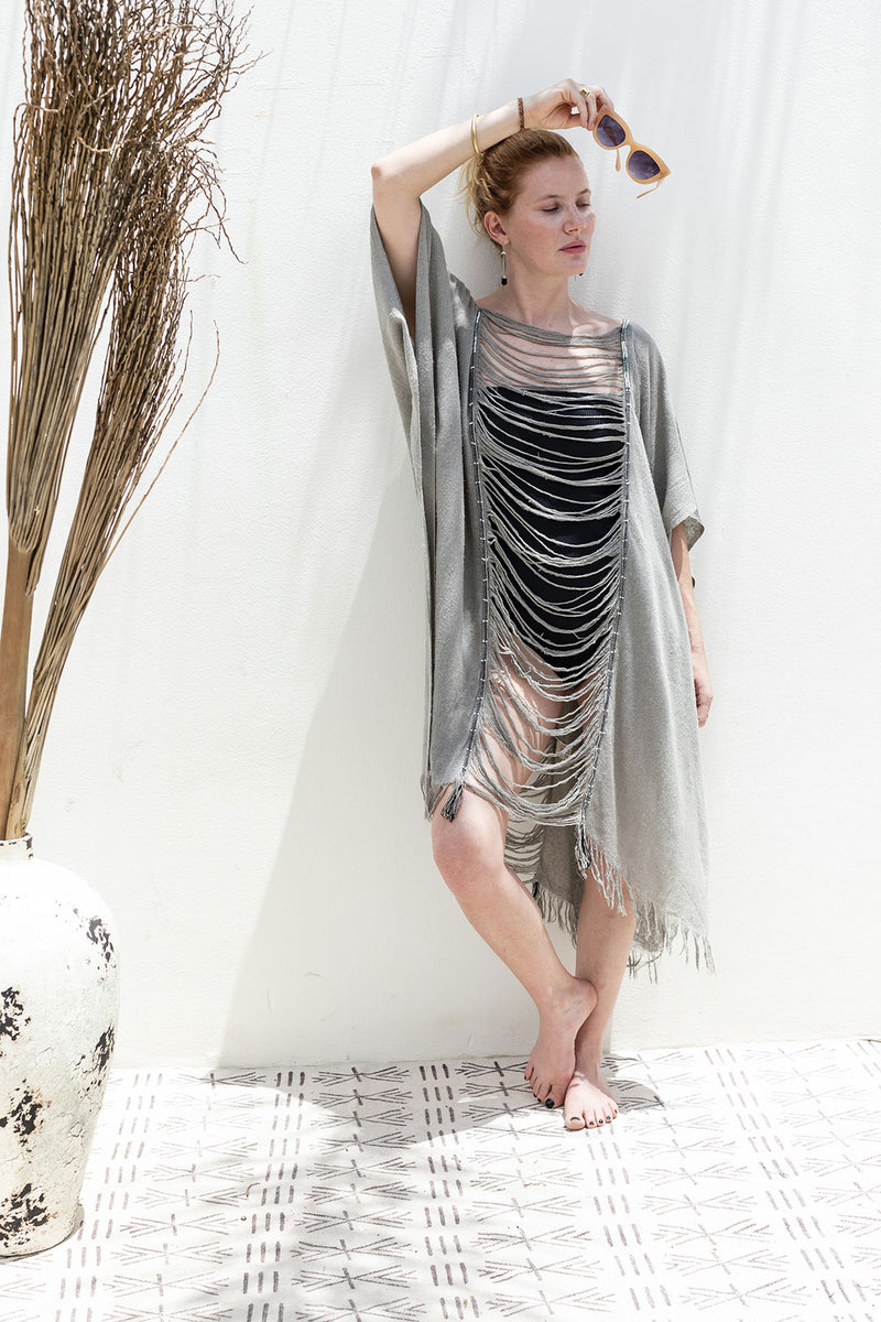 Summer Raw Silk Kaftan Dress