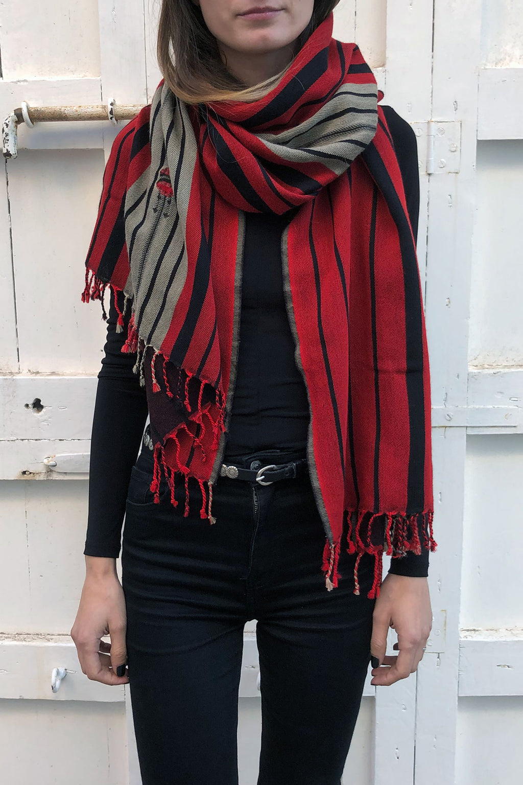 Red and Black Wool Shawl with Tribal Pattern
