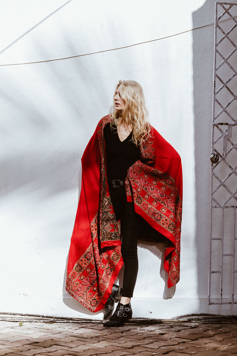 Large Boho Wool Shawl in Red