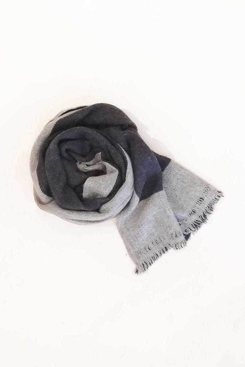 Grey and Charcoal Unisex Reversible Scarf/Shawl