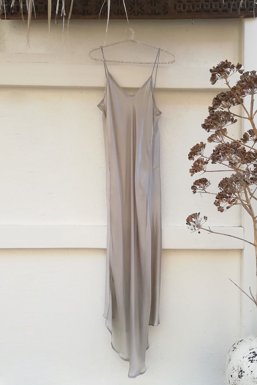 Long Silk Slip Dress in Mist Grey Color