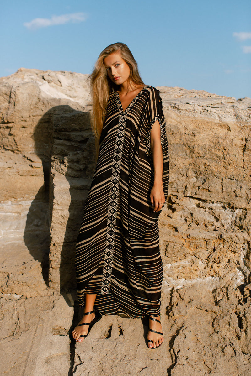 Sahara Long Dress Black And Cream Cotton Block Printed Kaftan