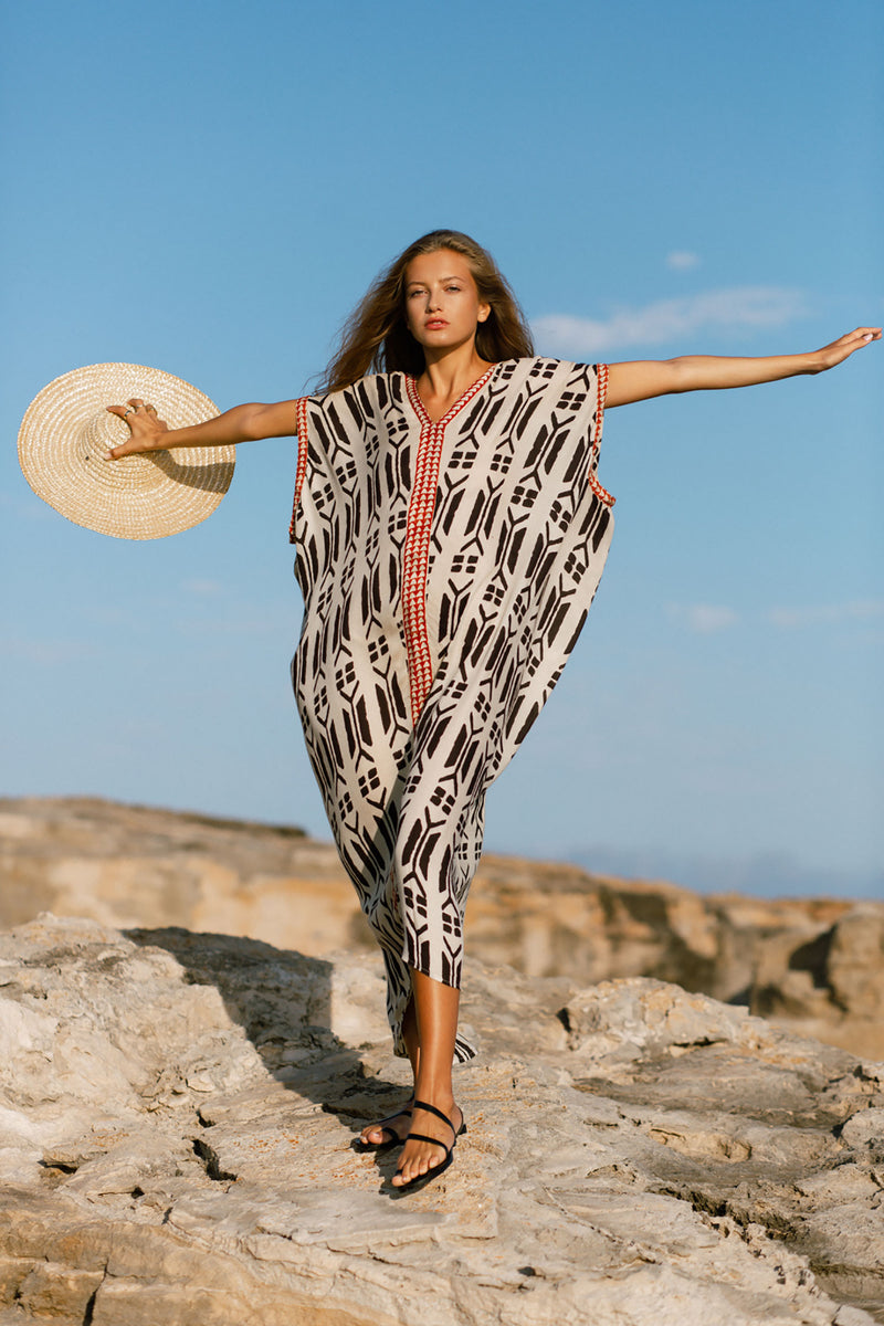 Black Red and Off White Block Printed Long Tribal Kaftan Dress