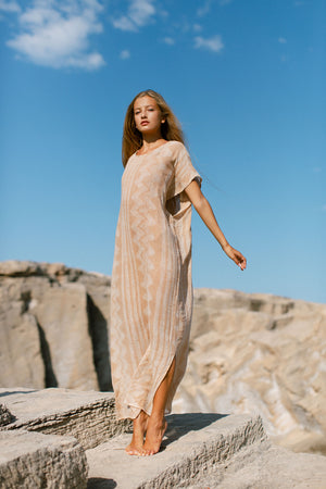 salmon cotton long beach dress