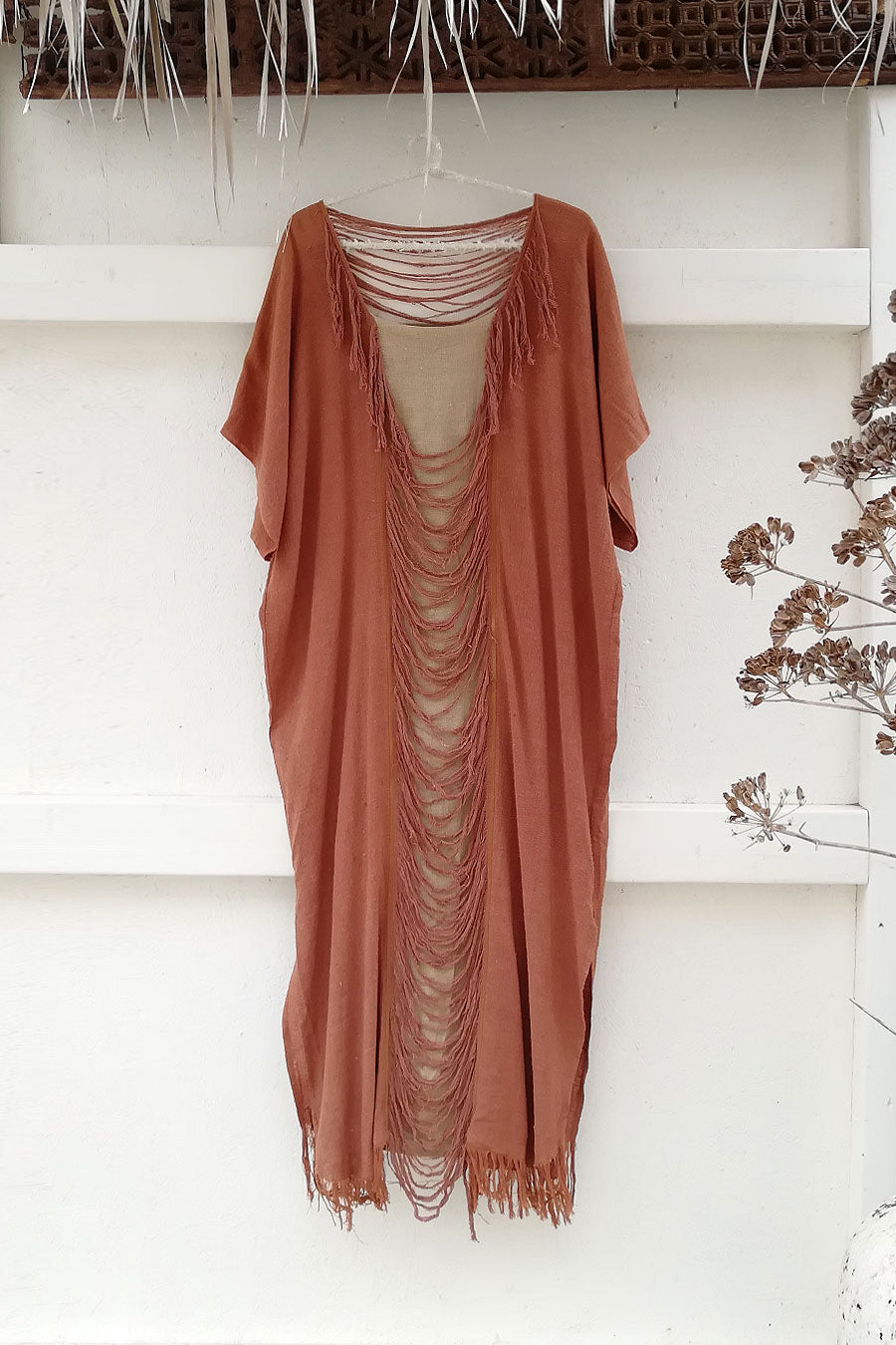 Raw Silk Dress Kaftan in Salmon Color