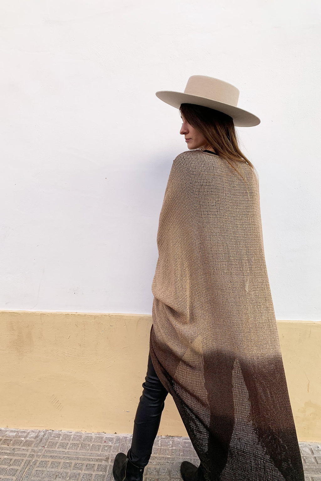 Savanna Long Net Brown Beige Ombre Jacket