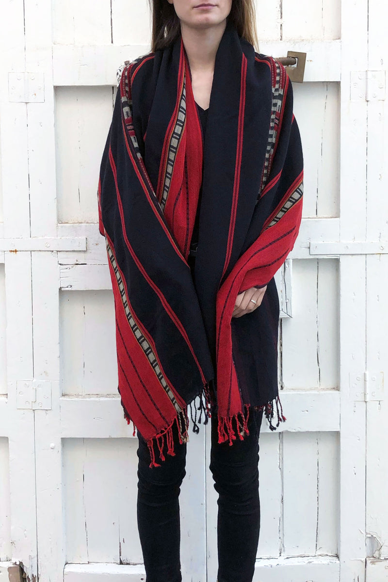 Scarf Black Red Wool Nagaland Tribal