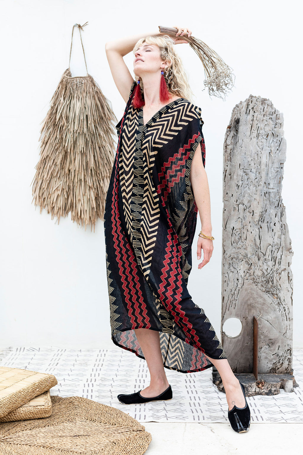 Sahara Kaftan Dress in Block Print on Cotton