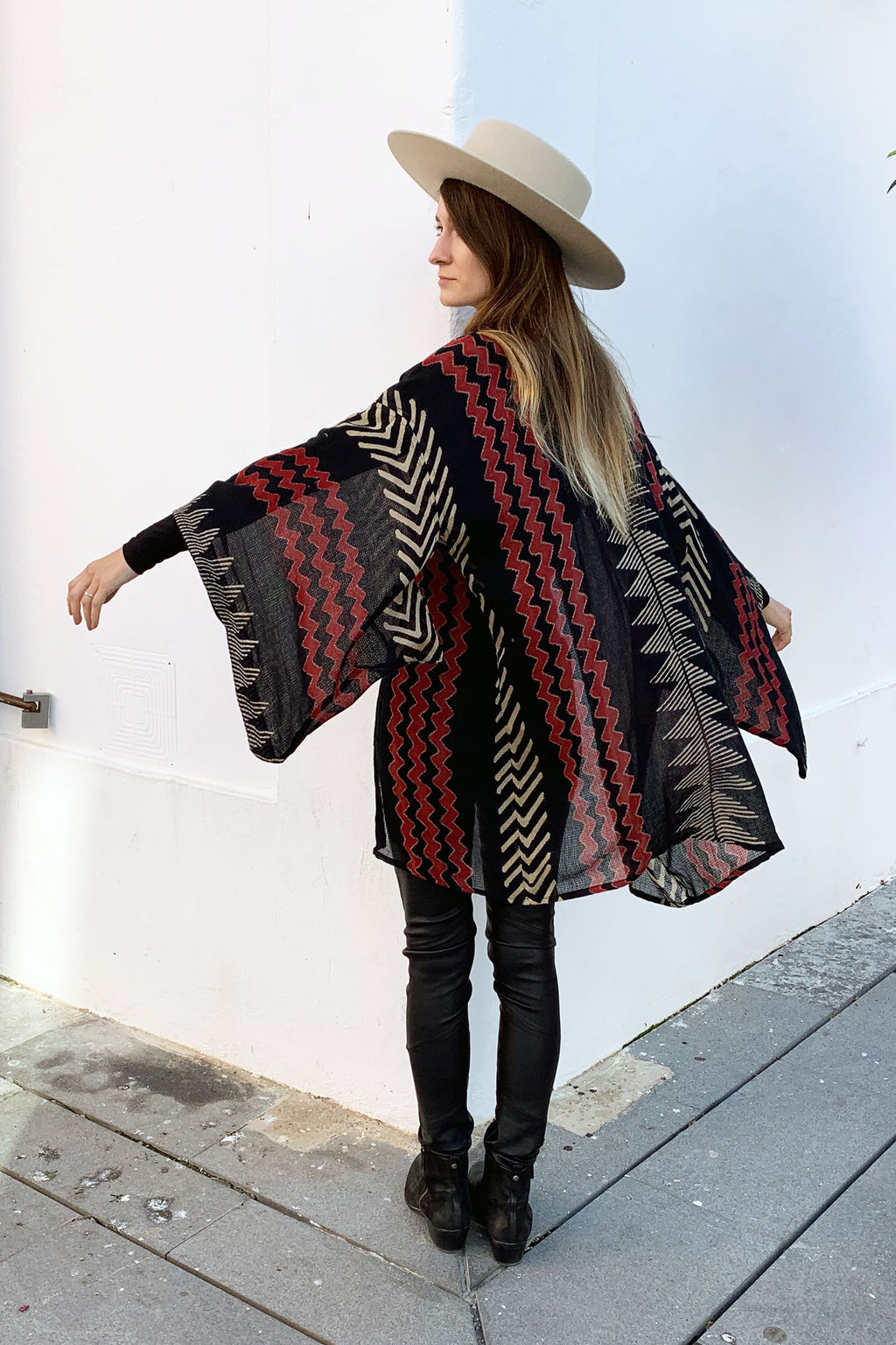 Al Short Kimono in Tribal Black White and Red Block Printed Pattern Unisex