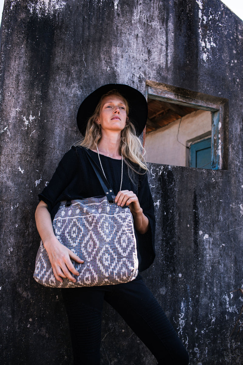 Shoulder Tote with Grey Block Print