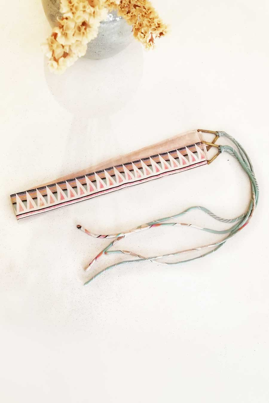 Pink and Turquoise Silk Belt with Brass